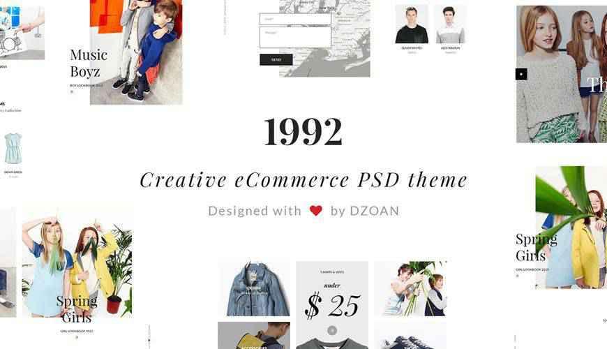 1992 Creative e-Commerce PSD Web Template Adobe Photoshop