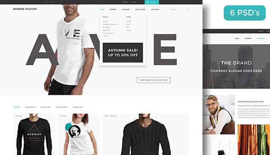 Avenue Fashion eCommerce PSD Web Template Adobe Photoshop