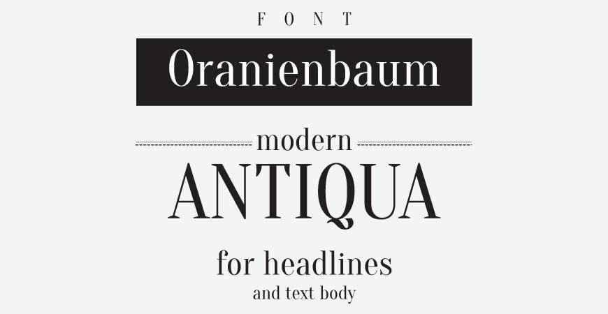 Oranienbaum free title headline typography font typeface