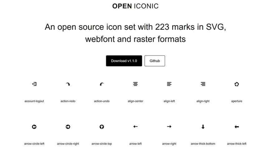 Open Iconic Open Source Set @fontface webfont free