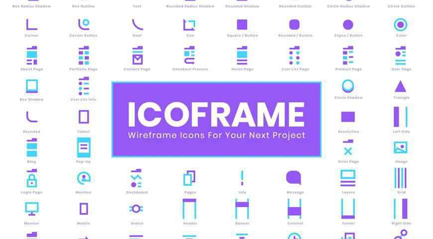 Icoframe Wireframe Icon Set @fontface webfont free