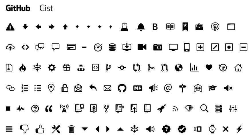 GitHub Octicons Icons @fontface webfont free