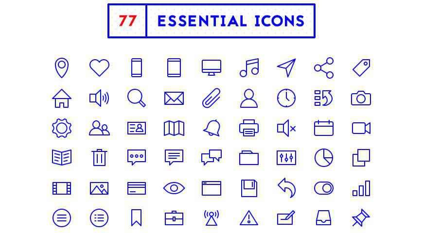 Minimal Outline Essential Icons @fontface webfont free