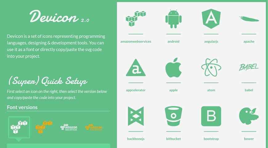 Devicon 2.0 Programming Development Icon Font @fontface webfont free