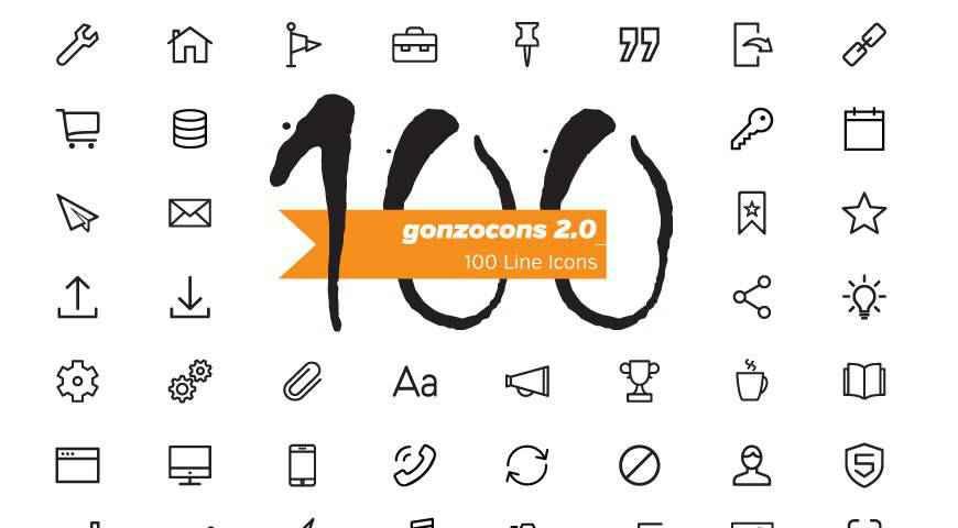 Gonzocons 2.0 Line Icons @fontface webfont free