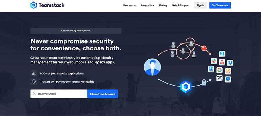 Teamstack home page.