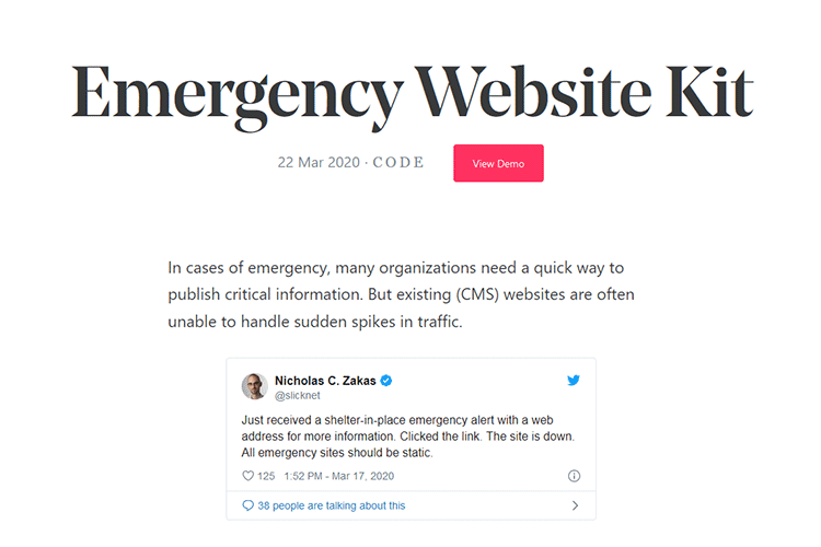 Example from Emergency Website Kit