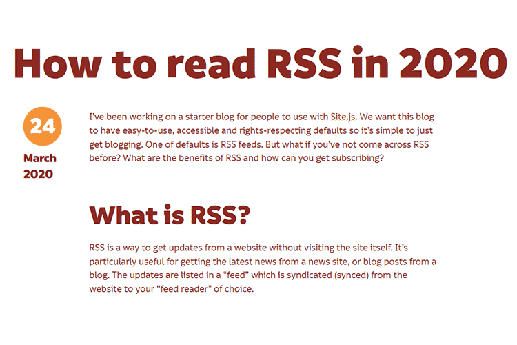 Example from How to read RSS in 2020