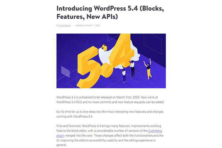 Example from Introducing WordPress 5.4 (Blocks, Features, New APIs)