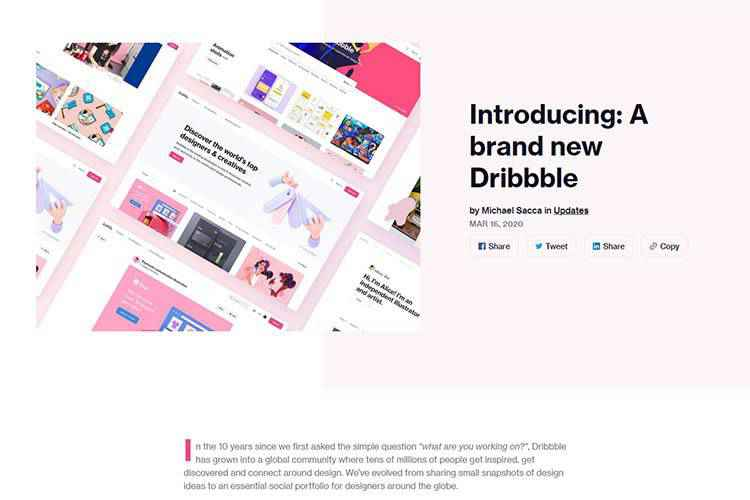 Example from Introducing: A brand new Dribbble
