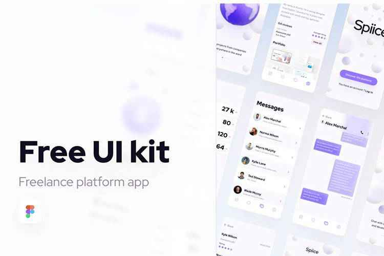 Example from Free UI Kit Freelance Platform App