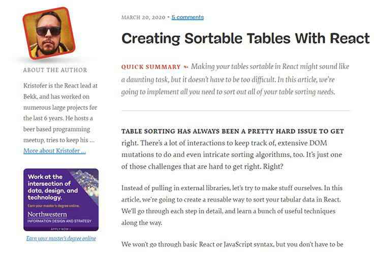 Example from Creating Sortable Tables With React