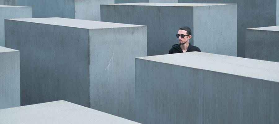A man walking through a maze.