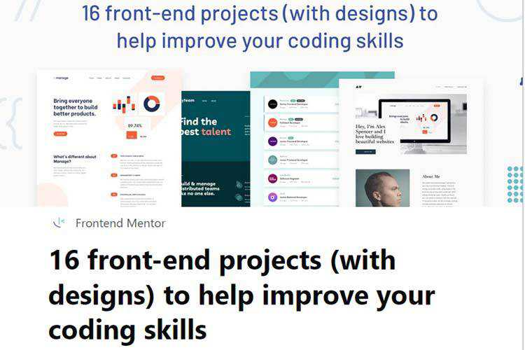 Example of 16 front-end projects (with designs) to help improve your coding skills