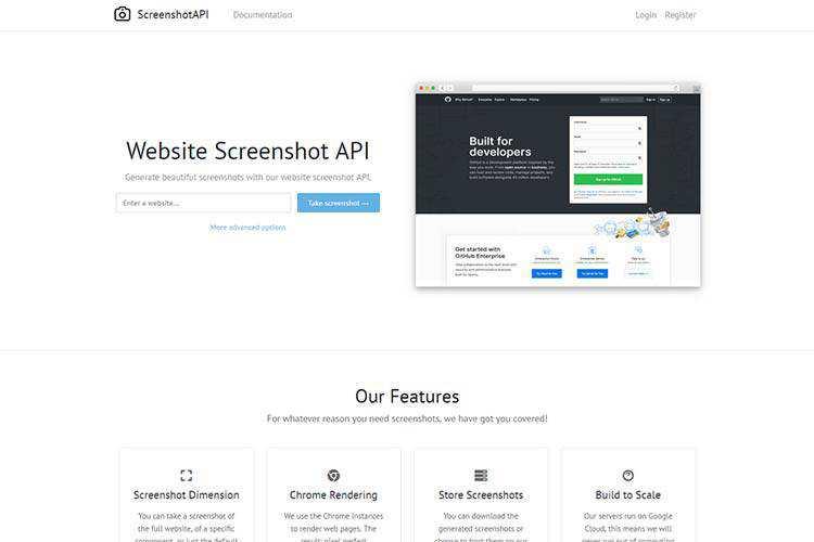 Exemple d'API de capture d'écran de site Web