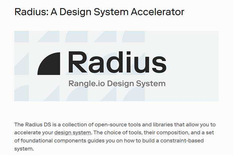 Example of Radius: A Design System Accelerator