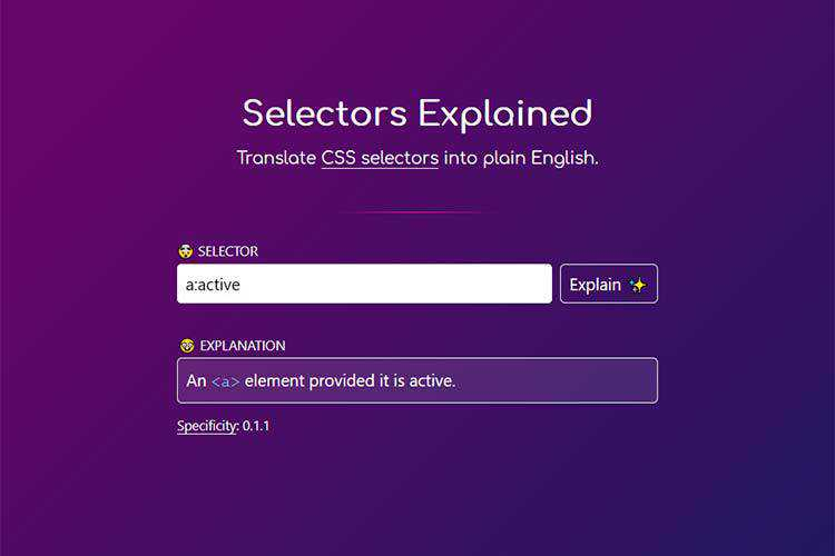 Example from Selectors Explained