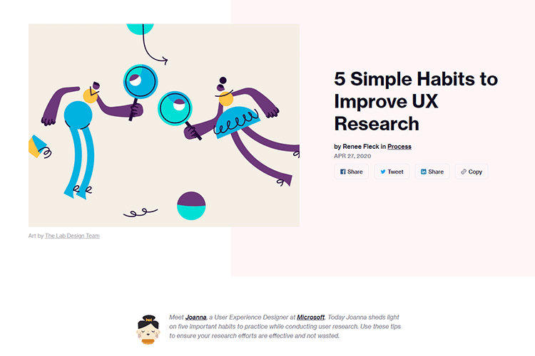 Example from 5 Simple Habits to Improve UX Research