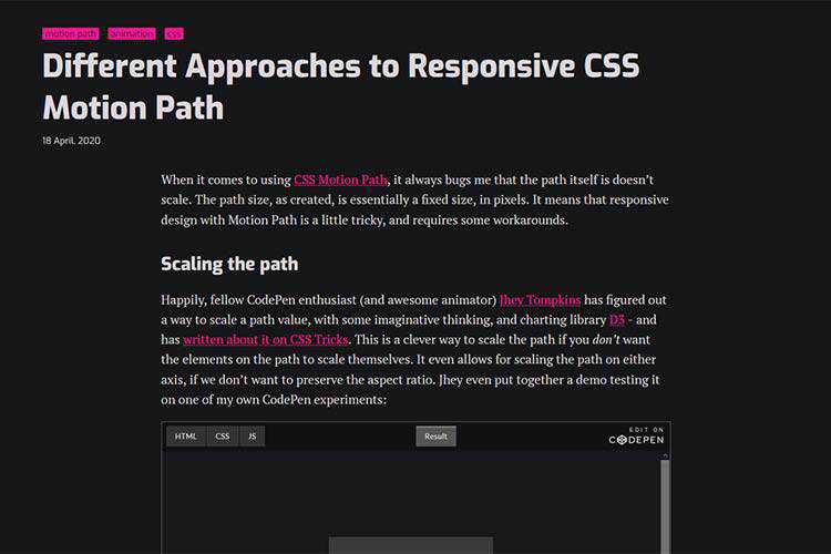 Example from Different Approaches to Responsive CSS Motion Path