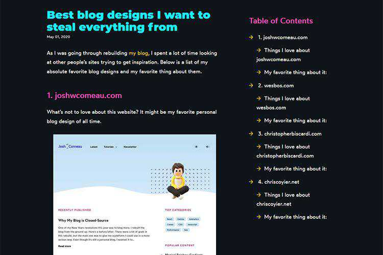 Example from Best blog designs I want to steal everything from