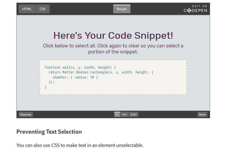 Example from Using CSS to Control Text Selection