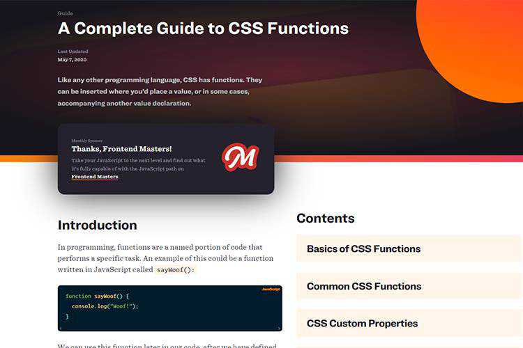 Example from A Complete Guide to CSS Functions