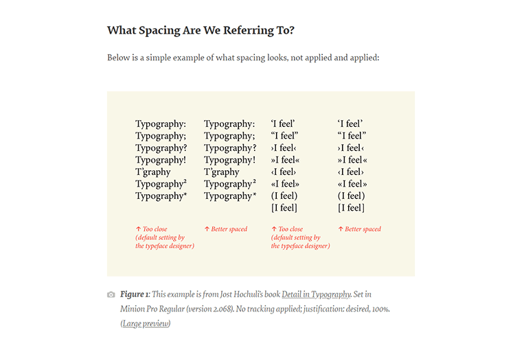 Example from Micro-Typography: How To Space And Kern Punctuation Marks And Other Symbols