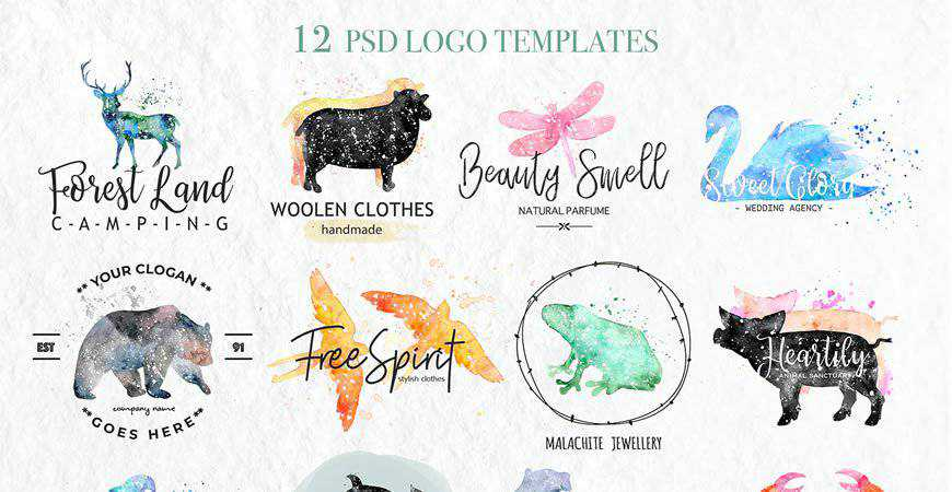 Watercolor Animal Logo Templates