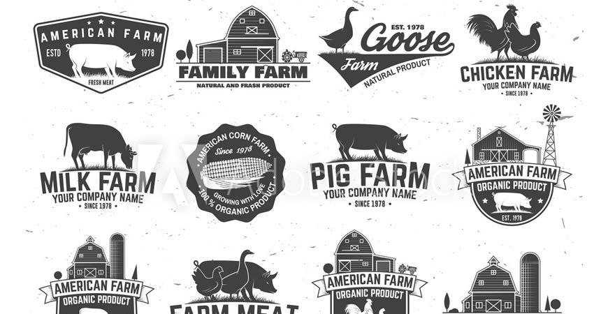 American Farm Badge Label Logo Templates animals