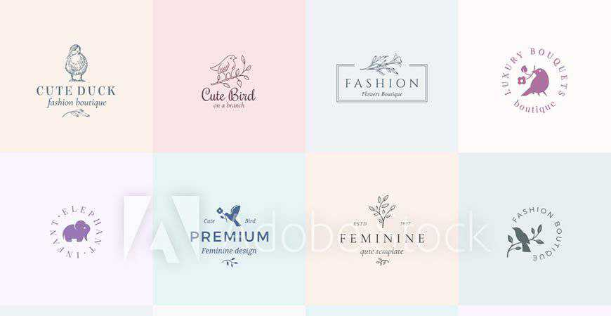 Twelve Abstract Animal Feminine Logo Templates