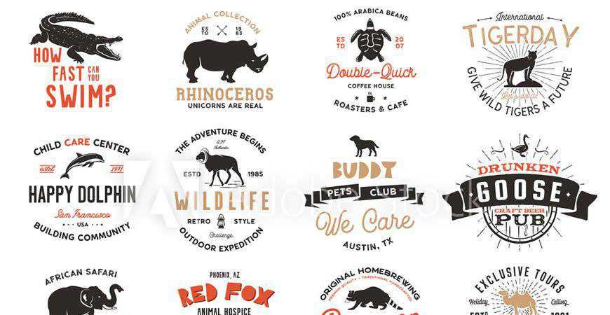 Wild Animal Badges Set