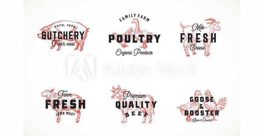 Retro Cattle Poultry Logo Templates animals