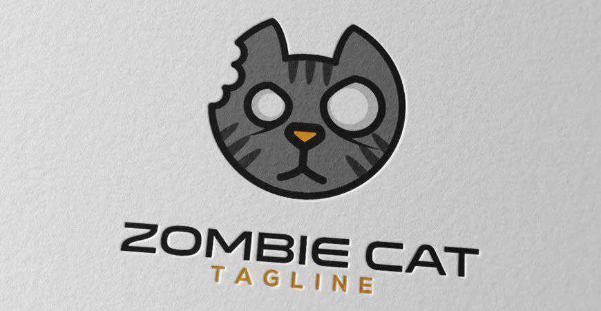 Zombie Cat Logo Template animals