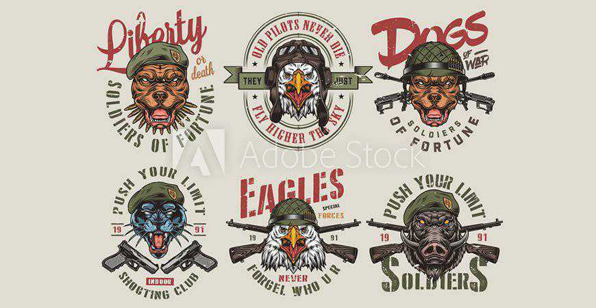 Illustrated Vintage Army Animal Logo Templates animals