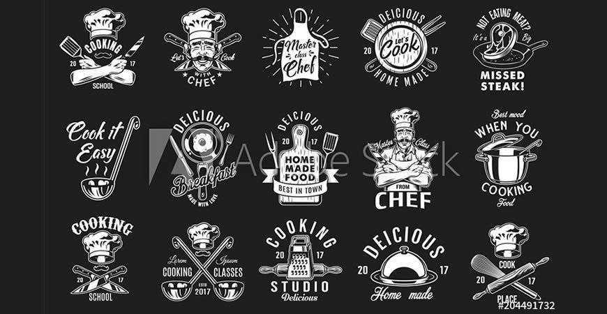 Cooking & Baking Vintage Logo Templates bakery cake bake food