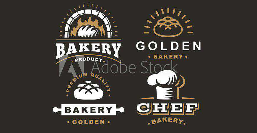 Set of Bread & Bakery Logo Templates cake bake food