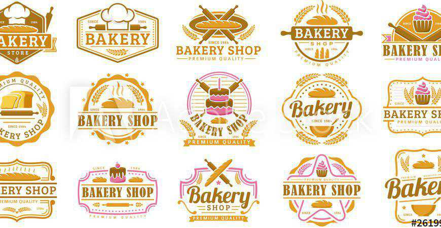 Collection of Bakery Logo Templates cake bake food