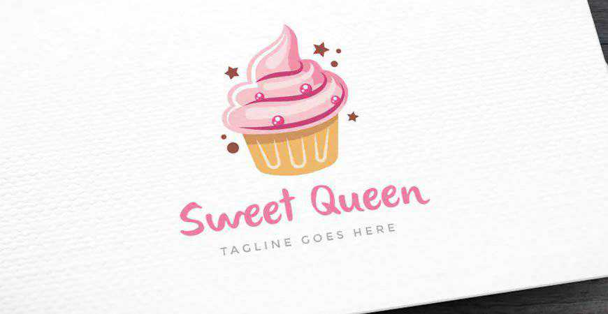 Sweet Queen Baking Logo Template bakery cake bake food