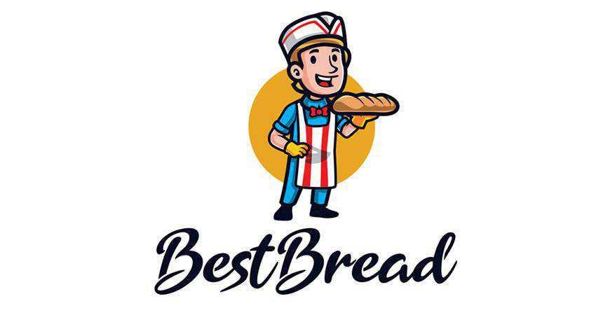 Cartoon Baker Holding Bread Mascot Logo Template bakery cake bake food