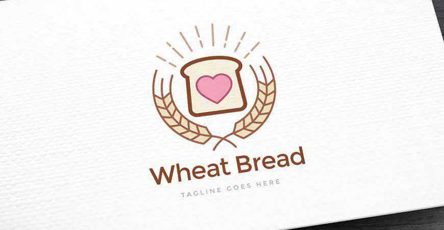 Wheat Bread Logo Template bakery cake bake food