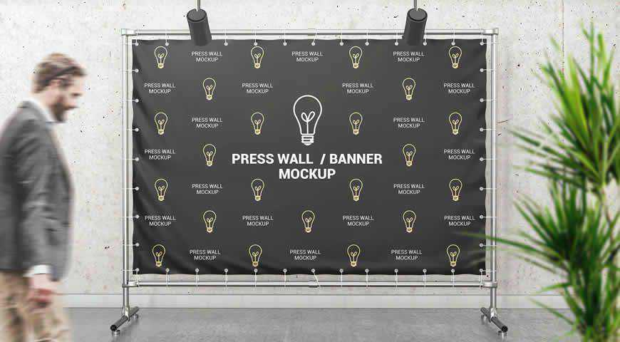 Press Wall Banner Photoshop PSD Mockup Template