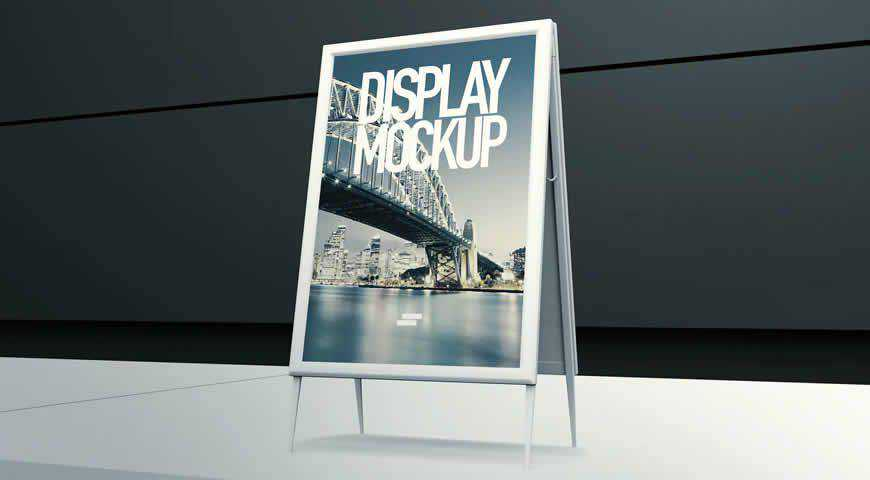 3D Display Banner Outdoor Photoshop PSD Mockup Template