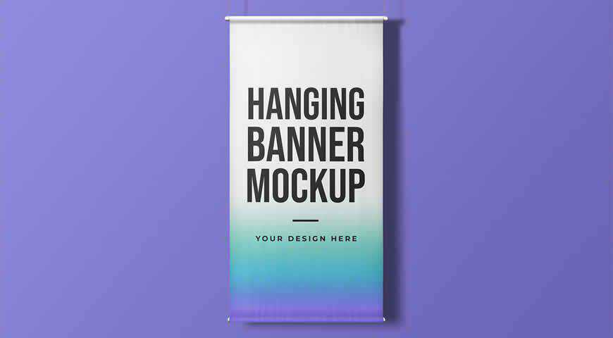 Hanging Vertical Banner Photoshop PSD Mockup Template