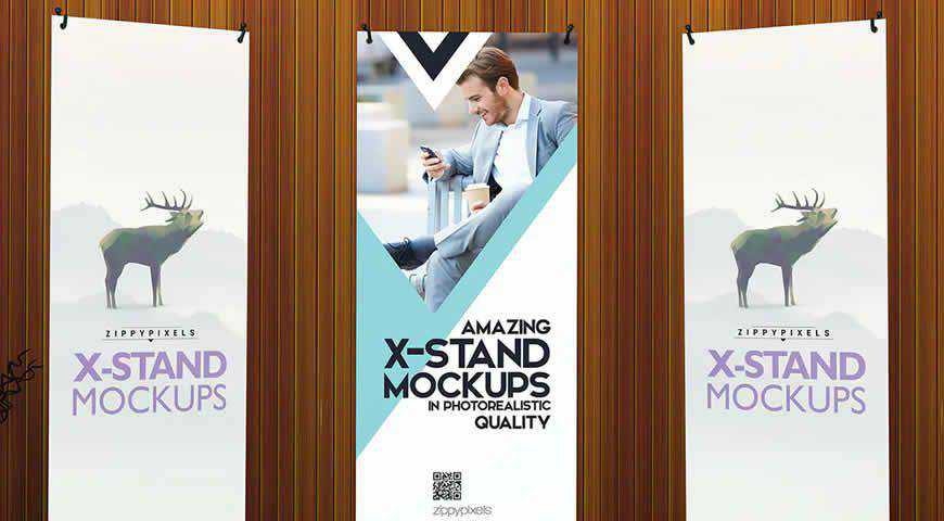 Roll Up Banner Photoshop PSD Mockup Template