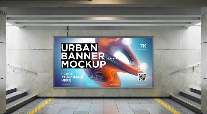 City Lightbox Banner Subway Photoshop PSD Mockup Template
