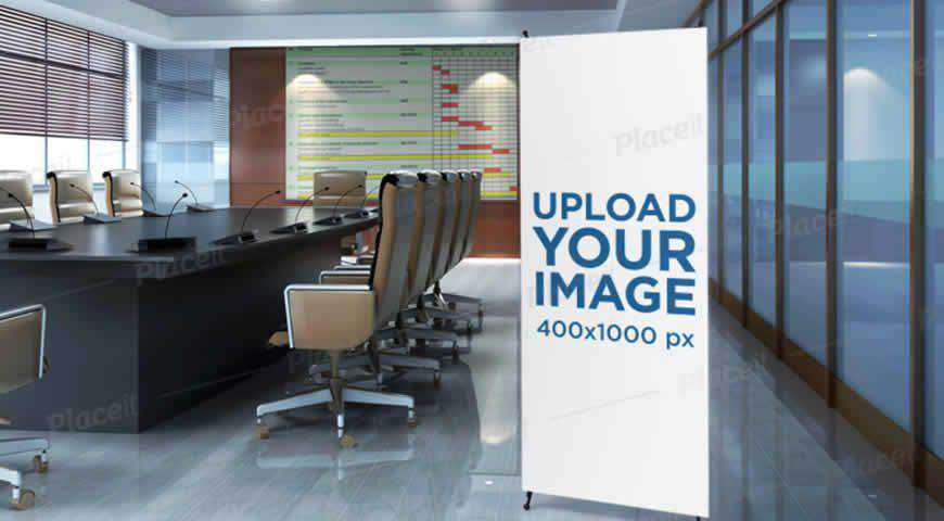 Vertical Banner Meeting Room Photoshop PSD Mockup Template