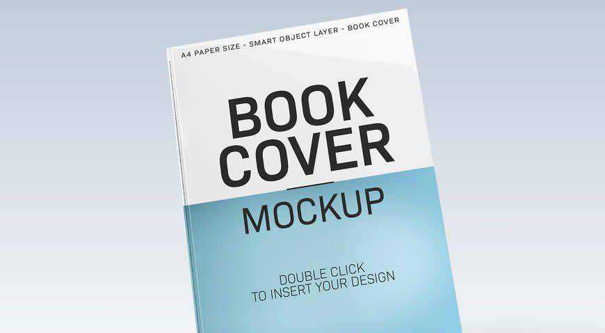 Floating Book Cover Photoshop PSD Mockup Template