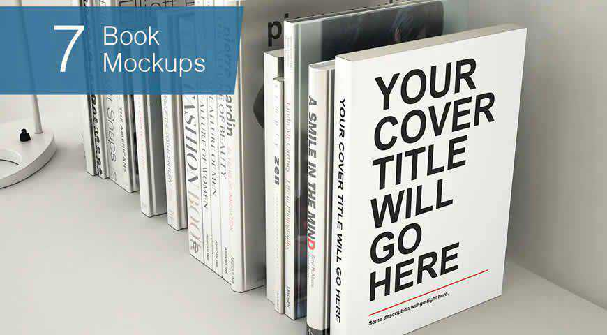 Seven Book Photoshop PSD Mockup Template