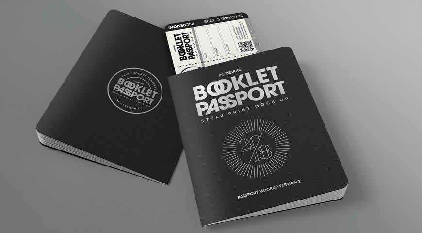 Passport Booklet Photoshop PSD Mockup Template