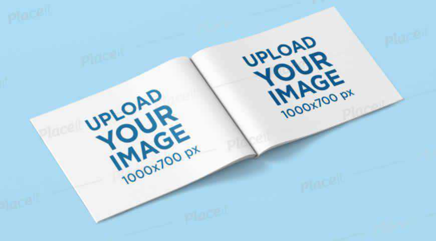 Open Horizontal Magazine Photoshop PSD Mockup Template